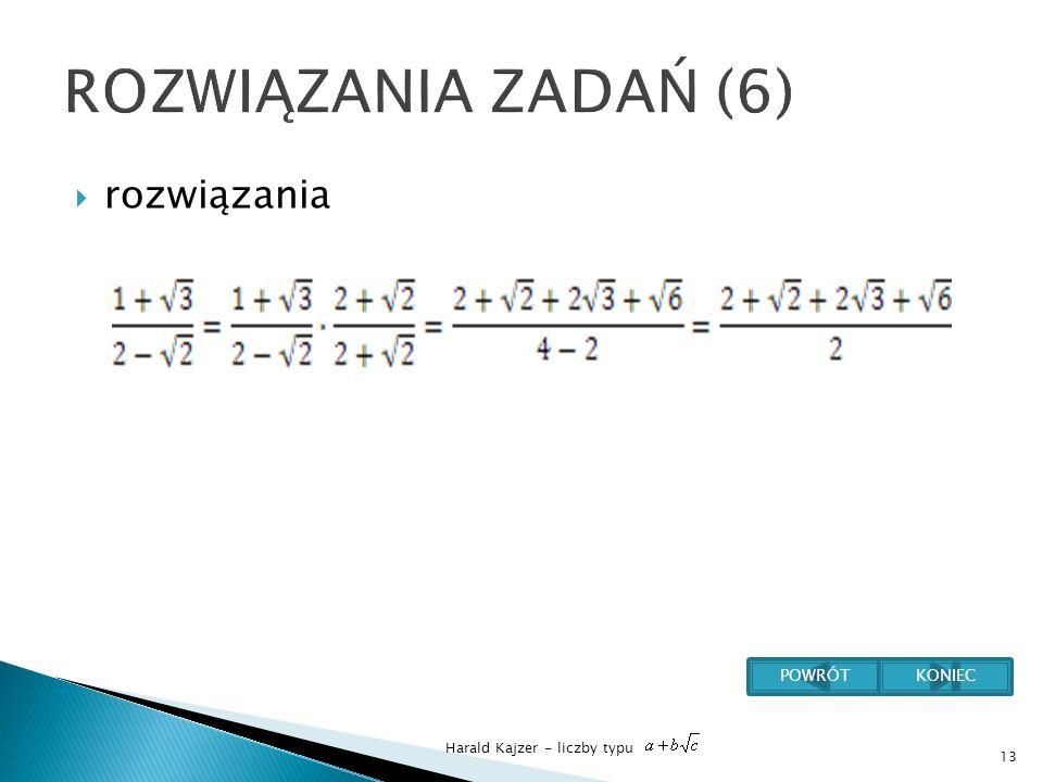 Harald Kajzer - liczby typu rozwiązania 13 POWRÓTKONIEC