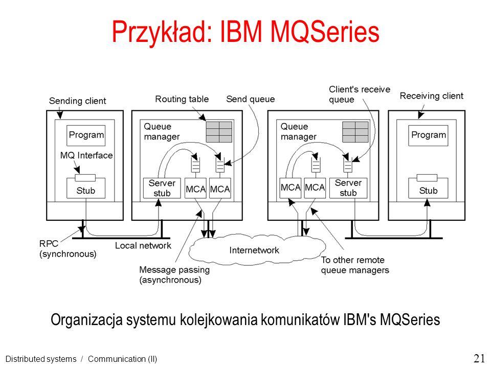 21 Distributed systems / Communication (II) Przykład: IBM MQSeries Organizacja systemu kolejkowania komunikatów IBM's MQSeries 2-31