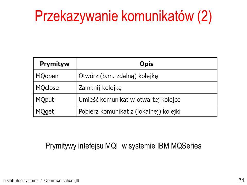 24 Distributed systems / Communication (II) Przekazywanie komunikatów (2) Prymitywy intefejsu MQI w systemie IBM MQSeries PrymitywOpis MQopenOtwórz (b