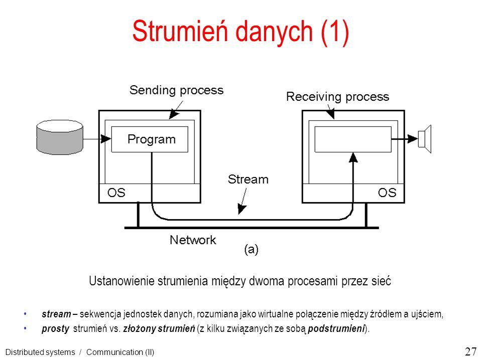 27 Distributed systems / Communication (II) Strumień danych (1) Ustanowienie strumienia między dwoma procesami przez sieć stream – sekwencja jednostek