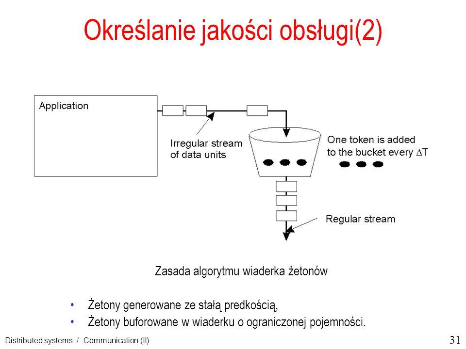 31 Distributed systems / Communication (II) Określanie jakości obsługi(2) Zasada algorytmu wiaderka żetonów Żetony generowane ze stałą predkością, Żet
