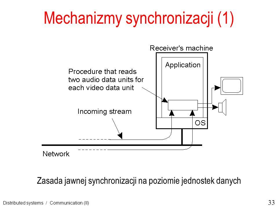 33 Distributed systems / Communication (II) Mechanizmy synchronizacji (1) Zasada jawnej synchronizacji na poziomie jednostek danych
