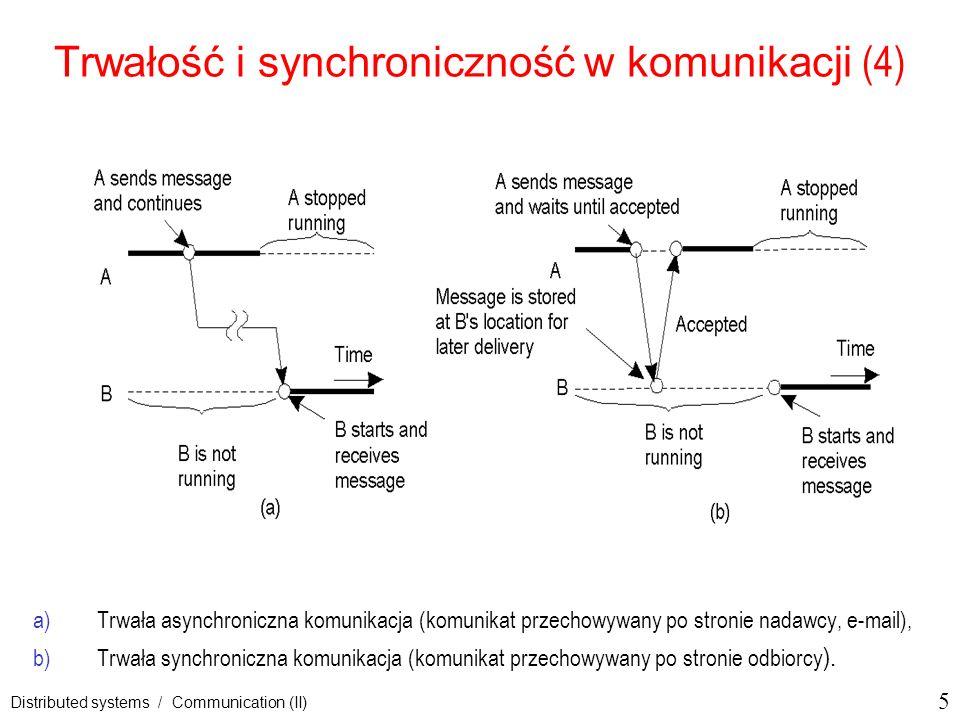 6 Distributed systems / Communication (II) Trwałość i synchroniczność w komunikacji (5) c)Przejściowa asynchroniczna komunikacja (oferowana przez usługi datagramowe na poziomie transportowym np.