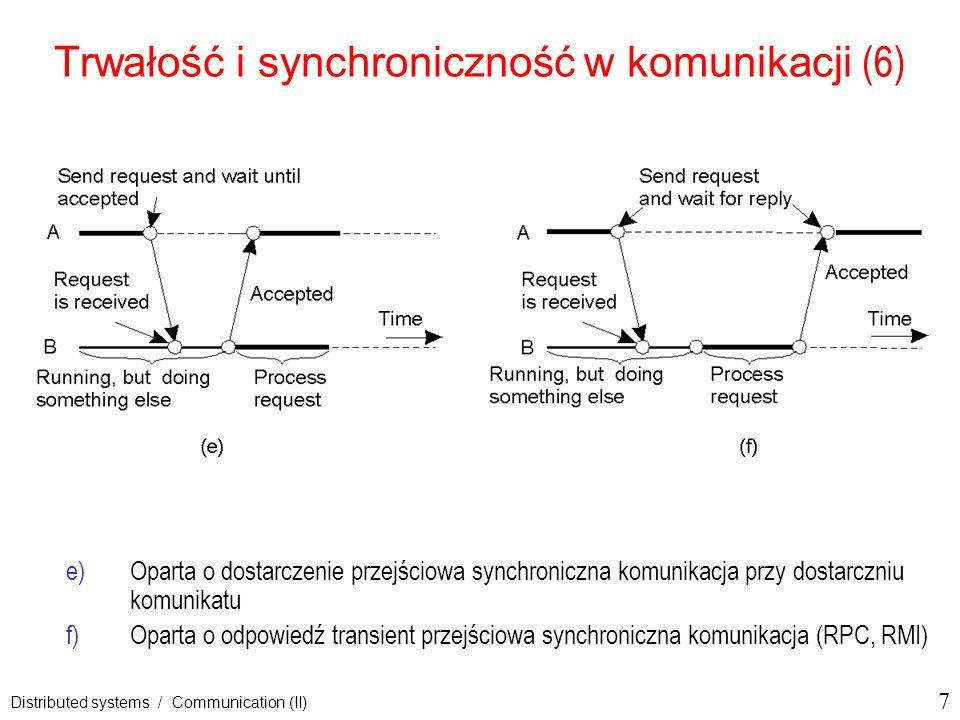 18 Distributed systems / Communication (II) Architektura typowego systemu kolejkowania komunikatów (2) Organizacja systemu kolejkowania komunikatów z ruterami 2-29 Zarządcy kolejek zwykle współdziałąją z aplikacjami niektóre działają jako rutery lub przekaźniki może się rozwinąć w sieć przekaźnikową, może potrzebować dynamicznego rutowania