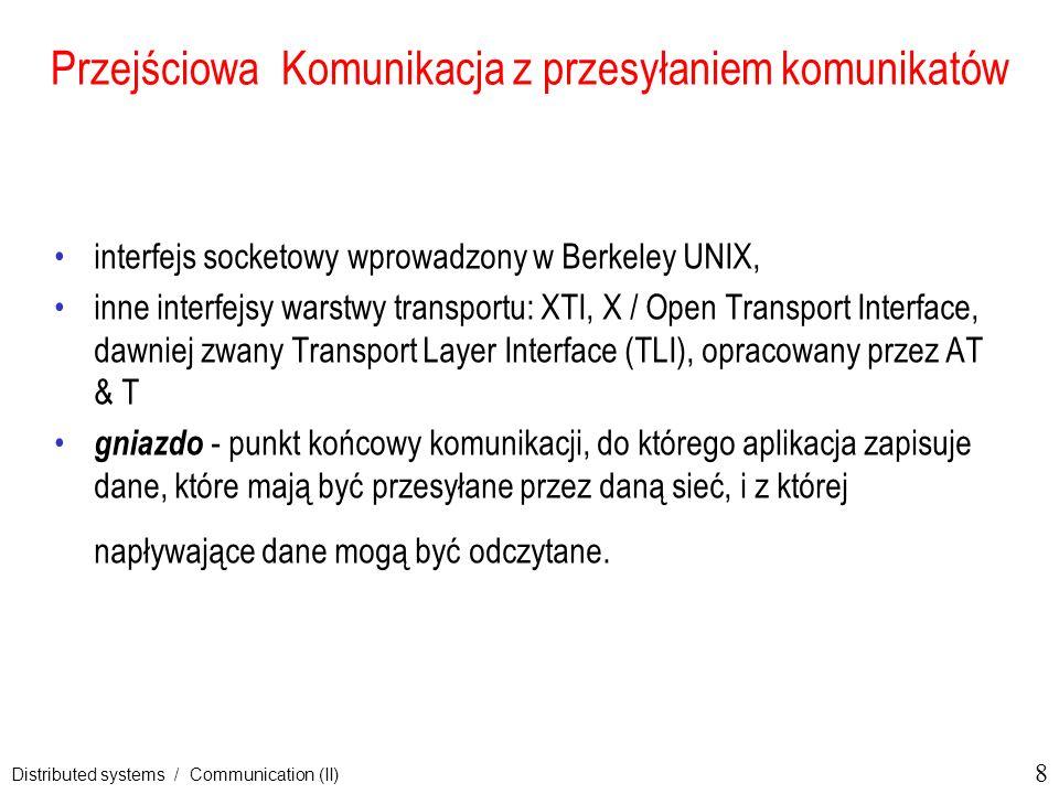 9 Distributed systems / Communication (II) Sockety Berkeley (1) Primitywy socketowe dla TCP/IP.