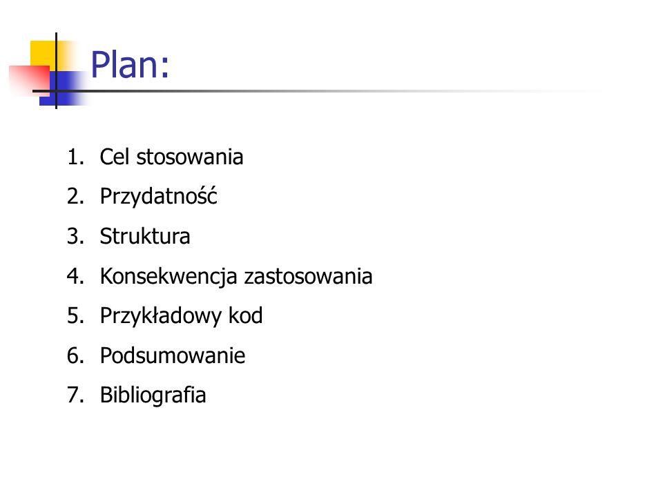 Plan: 1.Cel stosowania 2.Przydatność 3.Struktura 4.Konsekwencja zastosowania 5.Przykładowy kod 6.Podsumowanie 7.Bibliografia