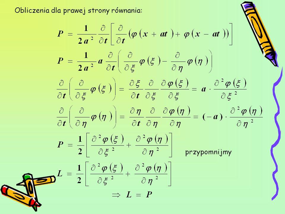 Obliczenia dla prawej strony równania: przypomnijmy
