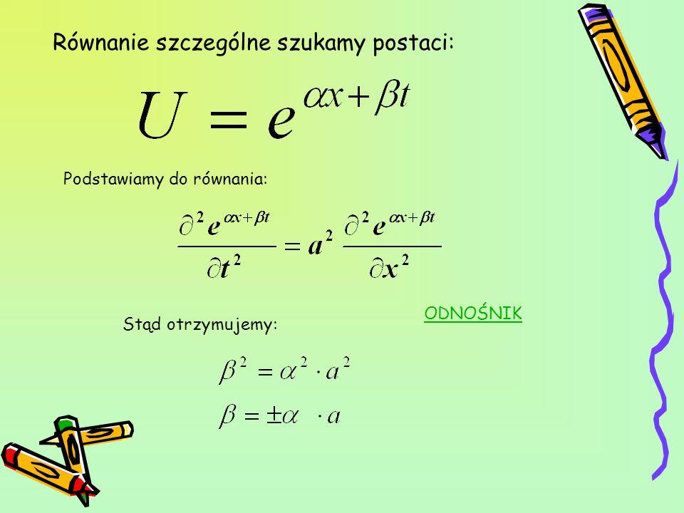 Funkcja jest rozwiązaniem szczególnym równania struny jeżeli : stąd możemy zapisać: Zapiszmy teraz: (Przejście zostało wytłumaczone na tablicy podczas prezentacji) Stąd widać, że rozwiązaniem szczególnym będzie: