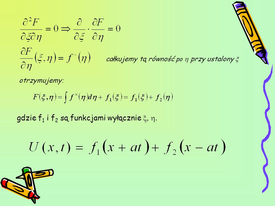 Wyliczamy funkcję f 1 i f 2, aby spełnione były warunki: Całkując drugą równość otrzymujemy: Pamiętając: dodajemy i odejmujemy stronami ów układ równań