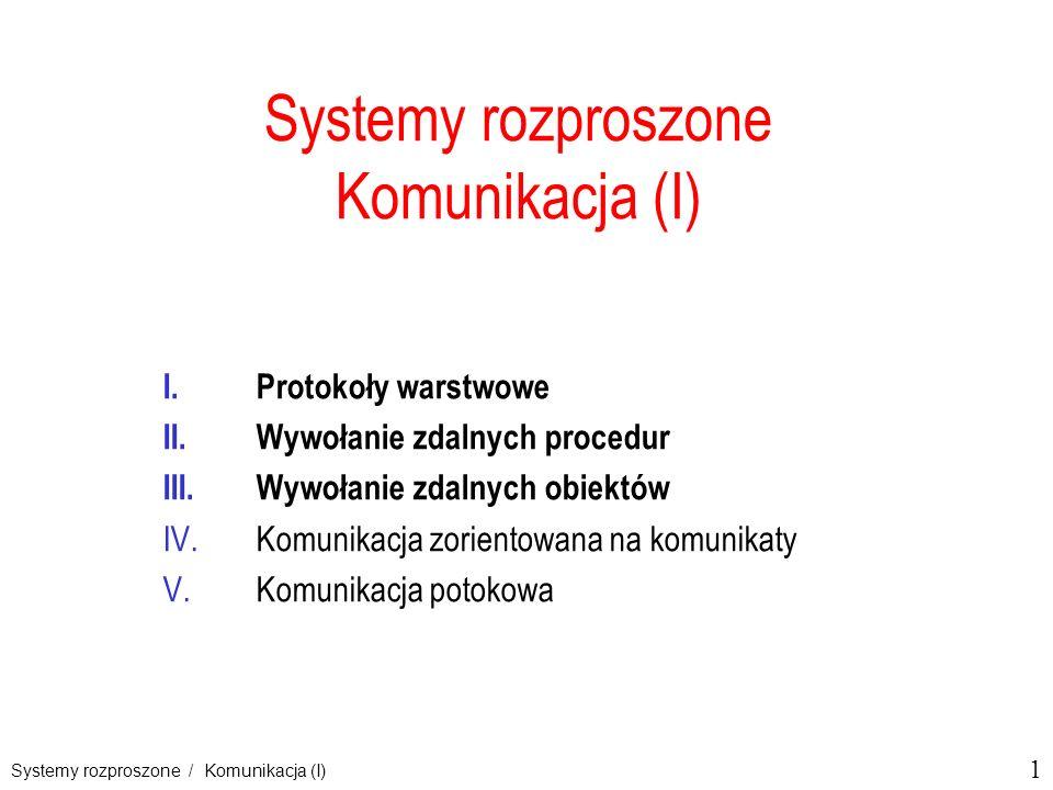 1 Systemy rozproszone / Komunikacja (I) Systemy rozproszone Komunikacja (I) I.Protokoły warstwowe II.Wywołanie zdalnych procedur III.Wywołanie zdalnyc