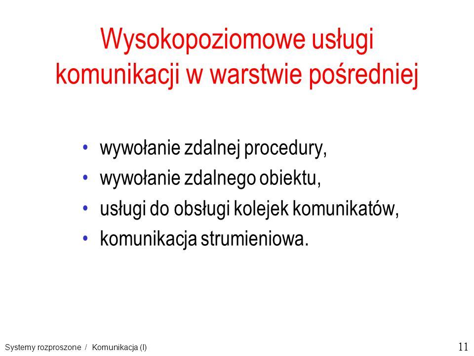 11 Systemy rozproszone / Komunikacja (I) Wysokopoziomowe usługi komunikacji w warstwie pośredniej wywołanie zdalnej procedury, wywołanie zdalnego obie