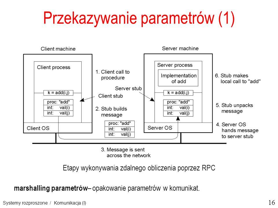 16 Systemy rozproszone / Komunikacja (I) Przekazywanie parametrów (1) Etapy wykonywania zdalnego obliczenia poprzez RPC marshalling parametrów – opakowanie parametrów w komunikat.