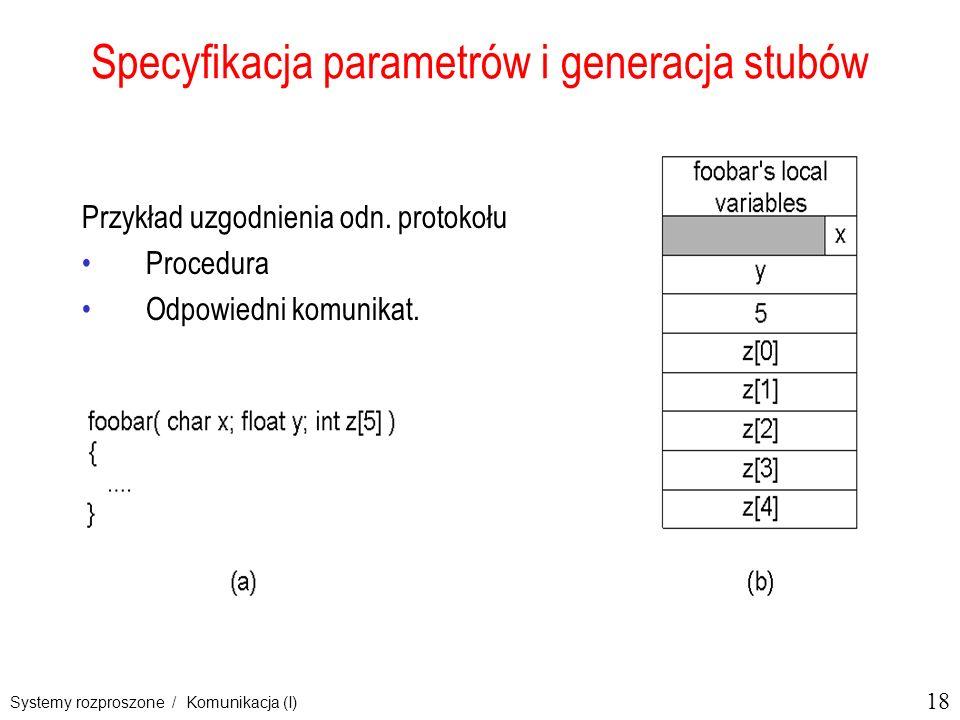 18 Systemy rozproszone / Komunikacja (I) Specyfikacja parametrów i generacja stubów Przykład uzgodnienia odn. protokołu Procedura Odpowiedni komunikat