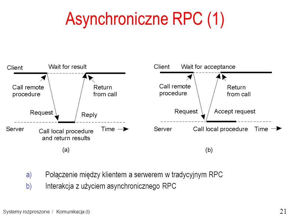 21 Systemy rozproszone / Komunikacja (I) Asynchroniczne RPC (1) a)Połączenie między klientem a serwerem w tradycyjnym RPC b)Interakcja z użyciem async