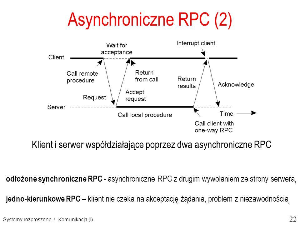 22 Systemy rozproszone / Komunikacja (I) Asynchroniczne RPC (2) Klient i serwer współdziałające poprzez dwa asynchroniczne RPC 2-13 odłożone synchroniczne RPC - asynchroniczne RPC z drugim wywołaniem ze strony serwera, jedno-kierunkowe RPC – klient nie czeka na akceptację żądania, problem z niezawodnością