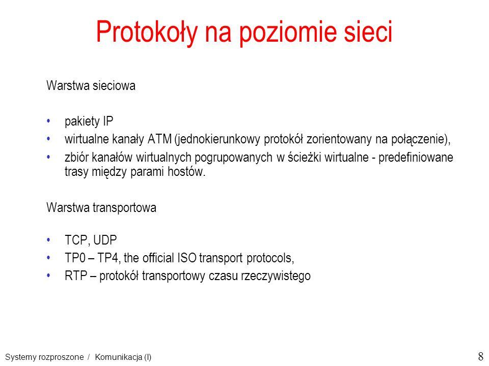 8 Systemy rozproszone / Komunikacja (I) Protokoły na poziomie sieci Warstwa sieciowa pakiety IP wirtualne kanały ATM (jednokierunkowy protokół zorient
