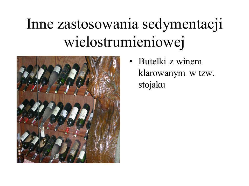 Inne zastosowania sedymentacji wielostrumieniowej Butelki z winem klarowanym w tzw. stojaku