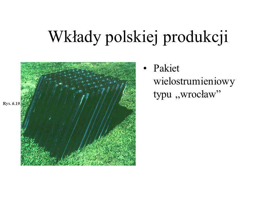 Wkłady polskiej produkcji Pakiet wielostrumieniowy z poprzeczną przegrodą wg patentu AGH pt.: Wkład wielo strumieniowy stromy do urządzeń sedymentacyjnych.