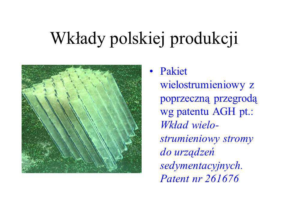 Wkłady polskiej produkcji Pakiet wielostrumieniowy z poprzeczną przegrodą wg patentu AGH pt.: Wkład wielo strumieniowy stromy do urządzeń sedymentacy