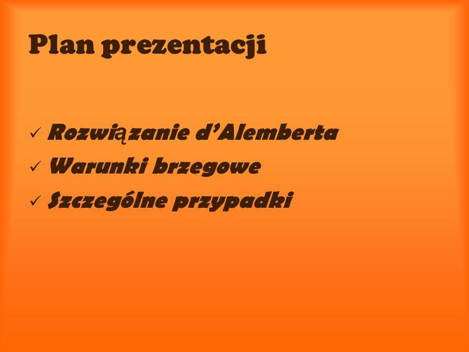 Plan prezentacji Rozwi ą zanie dAlemberta Warunki brzegowe Szczególne przypadki