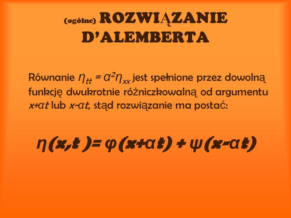 (ogólne) ROZWI Ą ZANIE DALEMBERTA Równanie η tt = α 2 η xx jest spełnione przez dowoln ą funkcj ę dwukrotnie ró ż niczkowaln ą od argumentu x+ α t lub x- α t, st ą d rozwi ą zanie ma posta ć : η (x,t )= φ (x+ α t) + ψ (x- α t)