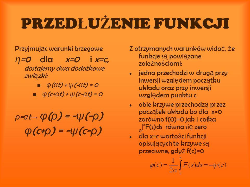PRZED Ł U Ż ENIE FUNKCJI Przyjmuj ą c warunki brzegowe η =0dla x=0i x=c, dostajemy dwa dodatkowe zwi ą zki: φ ( α t) + ψ (- α t) = 0 φ (c+ α t) + ψ (c- α t) = 0 ρ = α t φ ( ρ ) = - ψ (- ρ ) φ (c+ ρ ) = - ψ (c- ρ ) Z otrzymanych warunków wida ć, ż e funkcje s ą powi ą zane zale ż no ś ciami: jedna przechodzi w drug ą przy inwersji wzgl ę dem pocz ą tku układu oraz przy inwersji wzgl ę dem punktu c obie krzywe przechodz ą przez pocz ą tek układu bo dla x=0 zarówno f(0)=0 jak i całka 0 x F(s)ds równa si ę zero dla x=c warto ś ci funkcji opisuj ą cych te krzywe s ą przeciwne, gdy ż f(c)=0