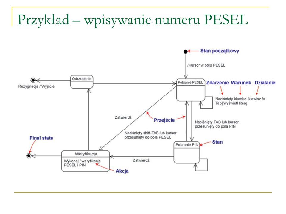 Przykład – wpisywanie numeru PESEL