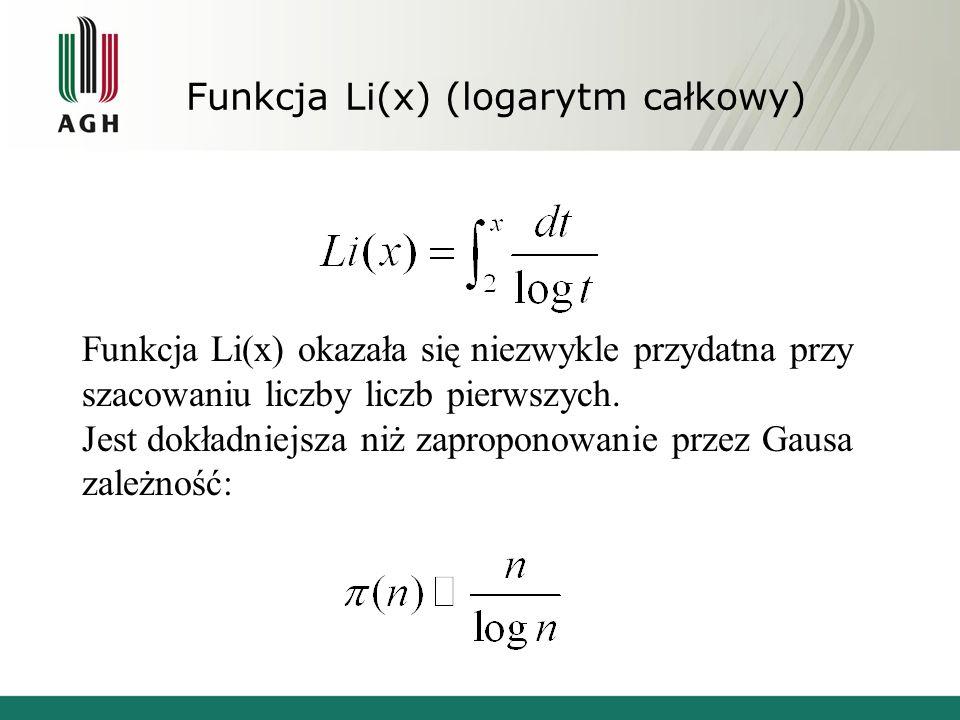 Funkcja Li(x) (logarytm całkowy) Funkcja Li(x) okazała się niezwykle przydatna przy szacowaniu liczby liczb pierwszych. Jest dokładniejsza niż zapropo