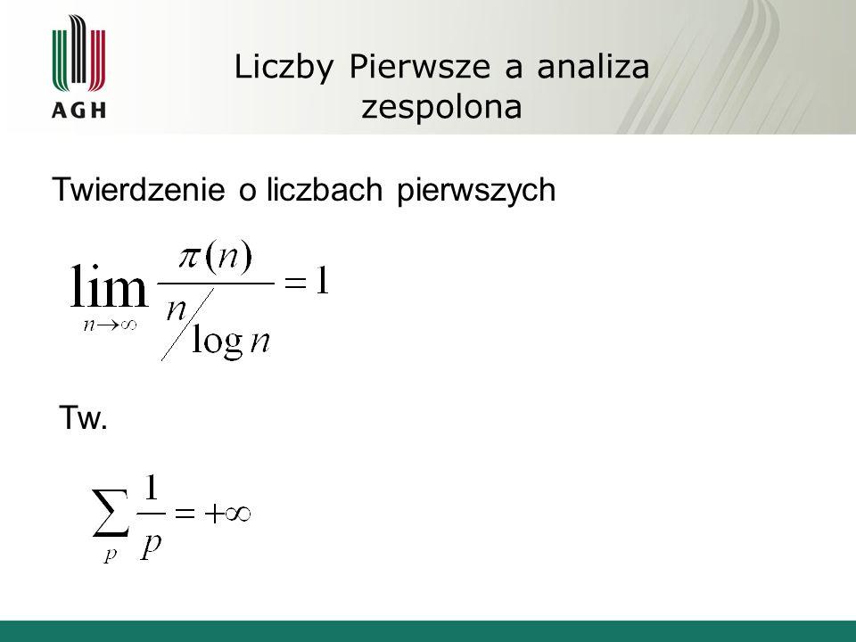 Liczby Pierwsze a analiza zespolona Twierdzenie o liczbach pierwszych Tw.