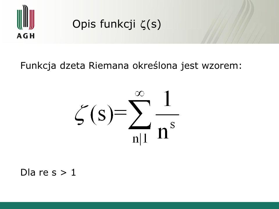 Opis funkcji (s) Funkcja dzeta Riemana określona jest wzorem: Dla re s > 1