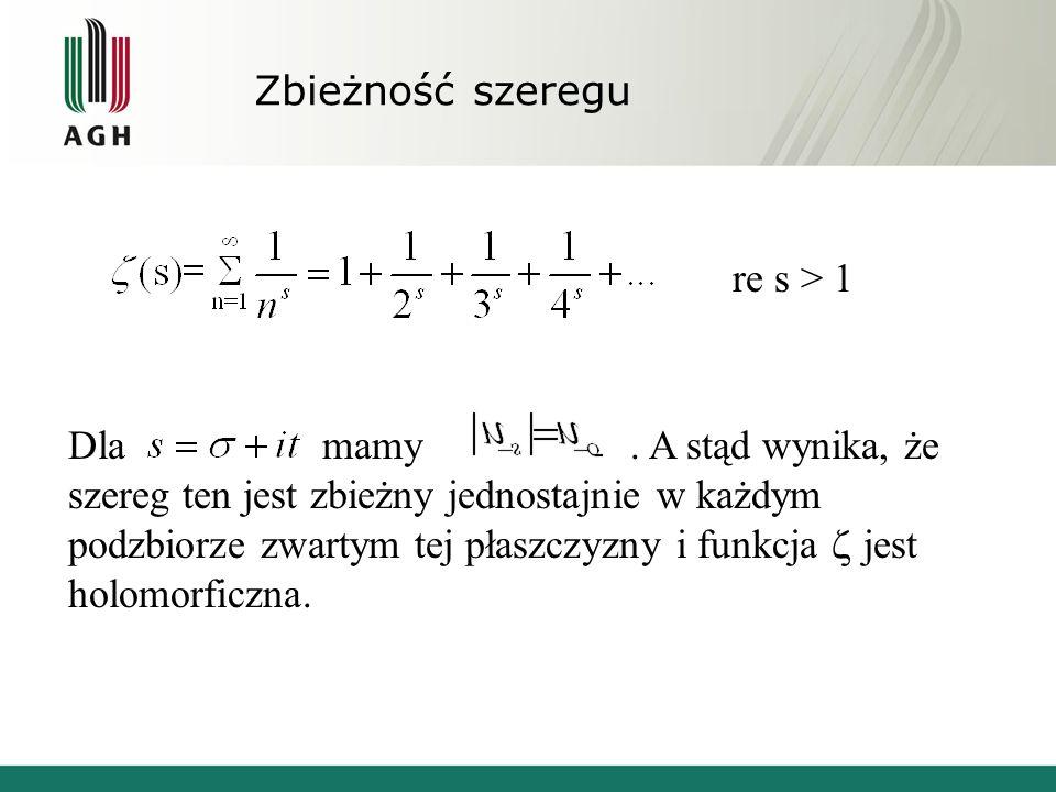Zbieżność szeregu re s > 1 Dla mamy. A stąd wynika, że szereg ten jest zbieżny jednostajnie w każdym podzbiorze zwartym tej płaszczyzny i funkcja jest