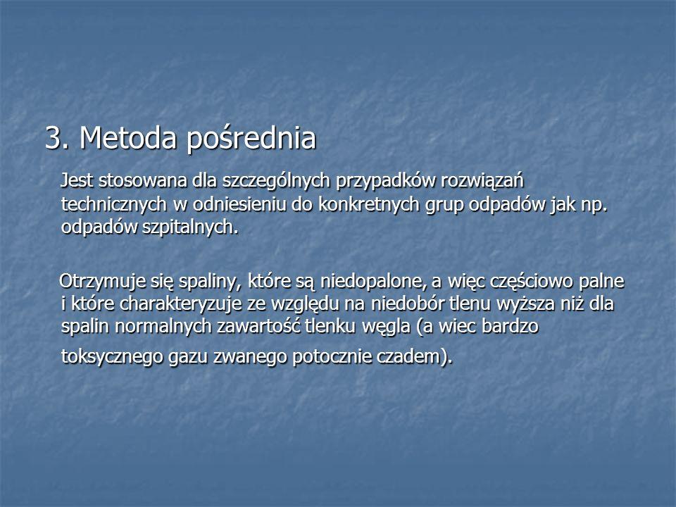 3. Metoda pośrednia 3. Metoda pośrednia Jest stosowana dla szczególnych przypadków rozwiązań technicznych w odniesieniu do konkretnych grup odpadów ja