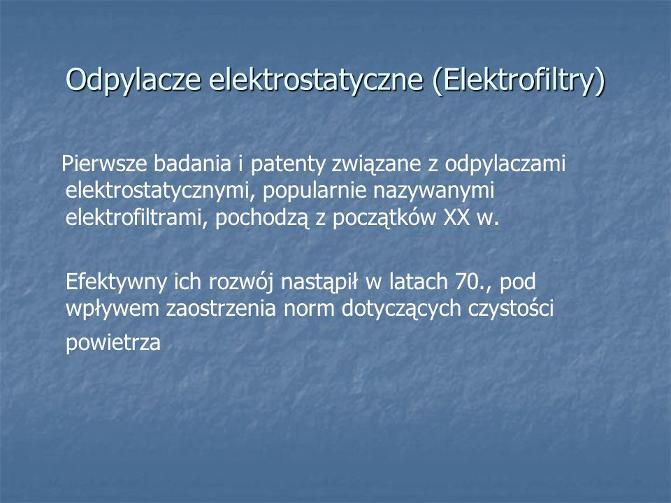 Odpylacze elektrostatyczne (Elektrofiltry) Pierwsze badania i patenty związane z odpylaczami elektrostatycznymi, popularnie nazywanymi elektrofiltrami