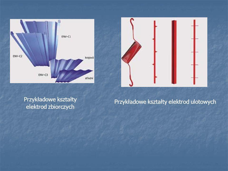 Przykładowe kształty elektrod zbiorczych Przykładowe kształty elektrod ulotowych