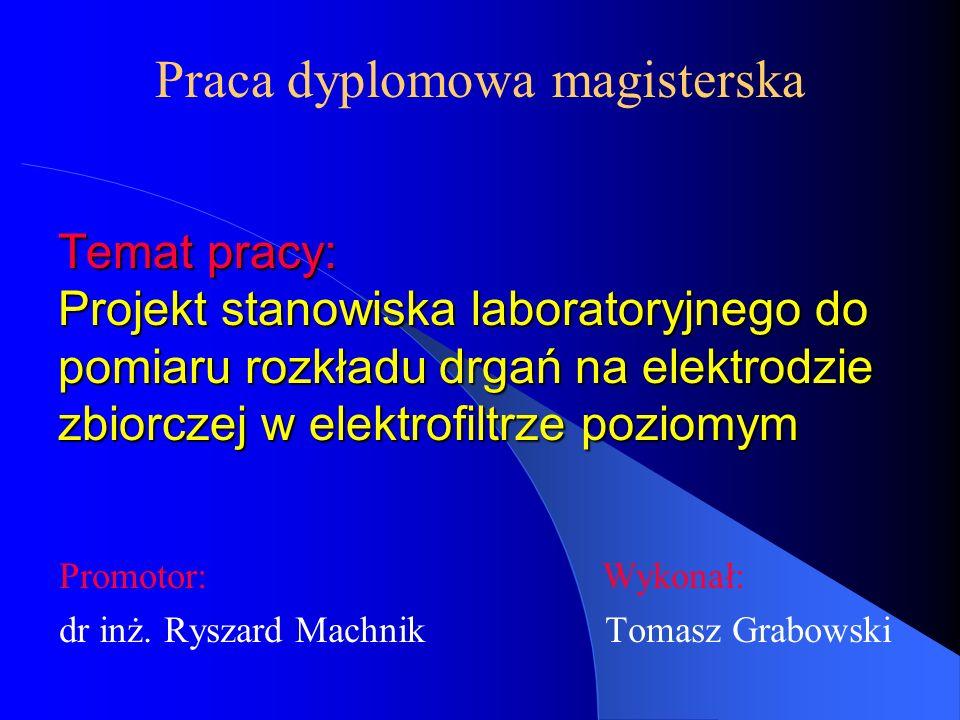Temat pracy: Projekt stanowiska laboratoryjnego do pomiaru rozkładu drgań na elektrodzie zbiorczej w elektrofiltrze poziomym Promotor: Wykonał: dr inż