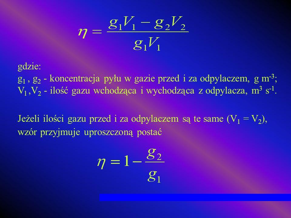 gdzie: g 1, g 2 - koncentracja pyłu w gazie przed i za odpylaczem, g m -3 ; V l,V 2 - ilość gazu wchodząca i wychodząca z odpylacza, m 3 s -1. Jeżeli