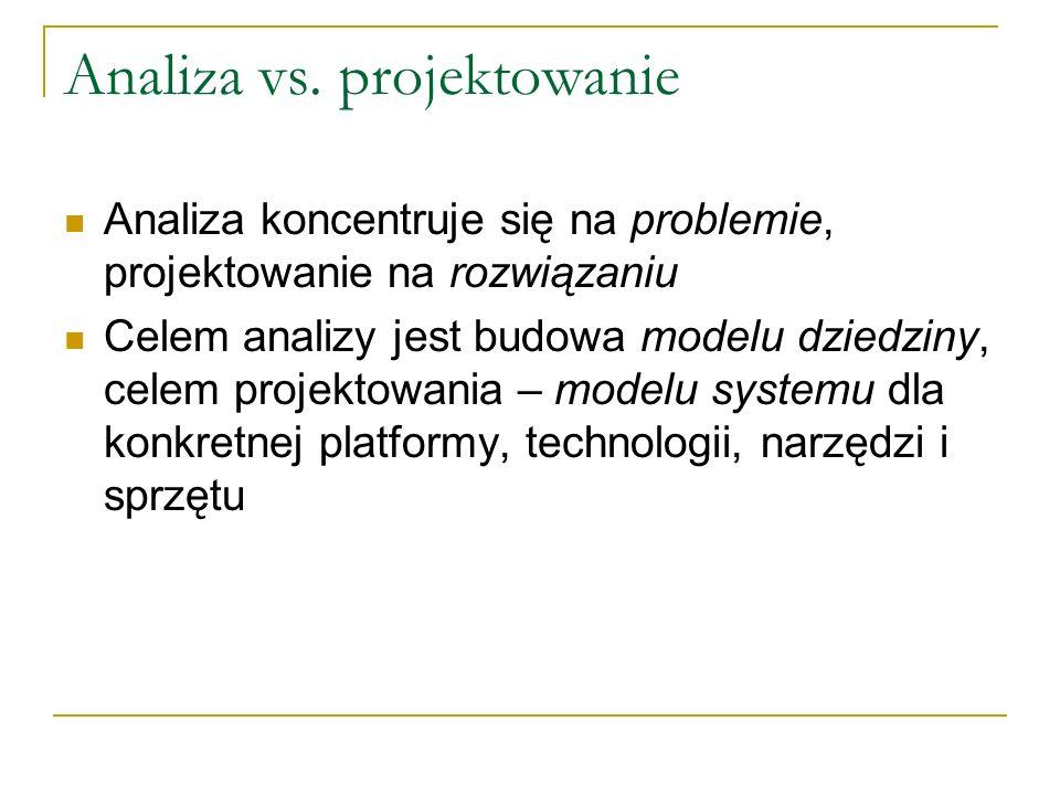 Analiza vs. projektowanie Analiza koncentruje się na problemie, projektowanie na rozwiązaniu Celem analizy jest budowa modelu dziedziny, celem projekt