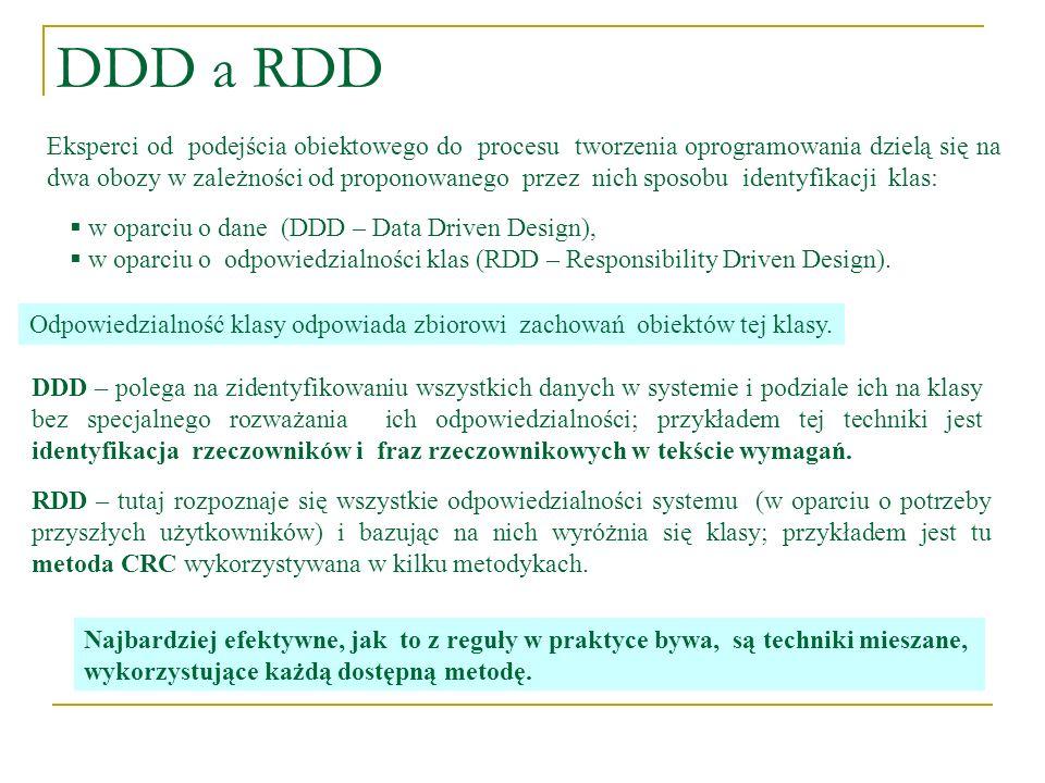 DDD a RDD Eksperci od podejścia obiektowego do procesu tworzenia oprogramowania dzielą się na dwa obozy w zależności od proponowanego przez nich sposo