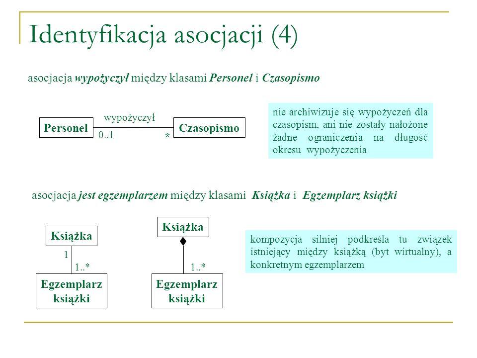 Identyfikacja asocjacji (4) PersonelCzasopismo wypożyczył 0..1 * asocjacja wypożyczył między klasami Personel i Czasopismo Książka Egzemplarz książki