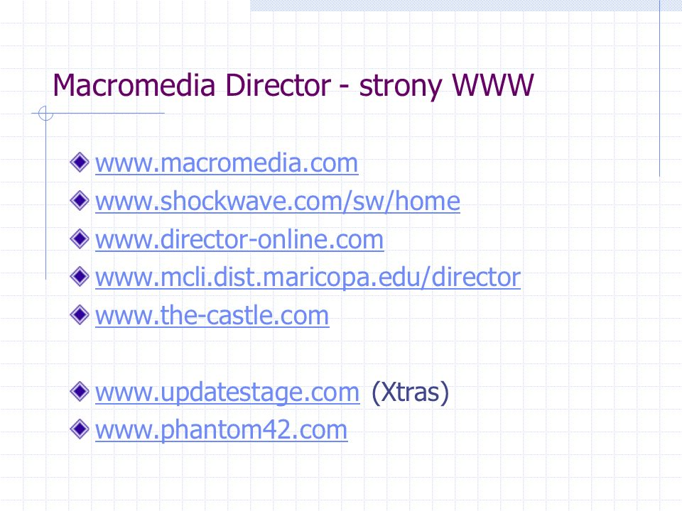Macromedia Director - strony WWW www.macromedia.com www.shockwave.com/sw/home www.director-online.com www.mcli.dist.maricopa.edu/director www.the-castle.com www.updatestage.comwww.updatestage.com (Xtras) www.phantom42.com