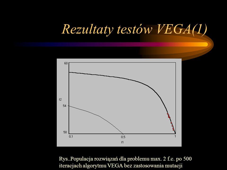 Rezultaty testów VEGA(1) Rys..Populacja rozwiązań dla problemu max. 2 f.c. po 500 iteracjach algorytmu VEGA bez zastosowania mutacji