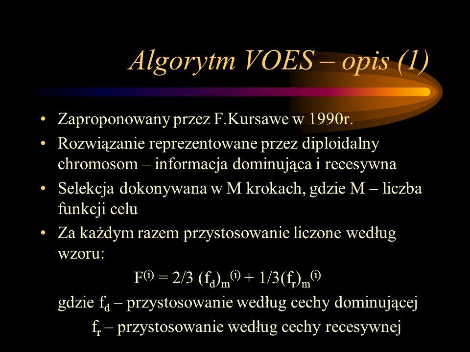 Algorytm VOES – opis (1) Zaproponowany przez F.Kursawe w 1990r. Rozwiązanie reprezentowane przez diploidalny chromosom – informacja dominująca i reces