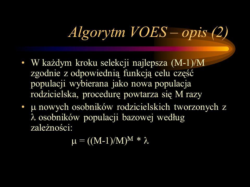 Algorytm VOES – opis (2) W każdym kroku selekcji najlepsza (M-1)/M zgodnie z odpowiednią funkcją celu część populacji wybierana jako nowa populacja ro