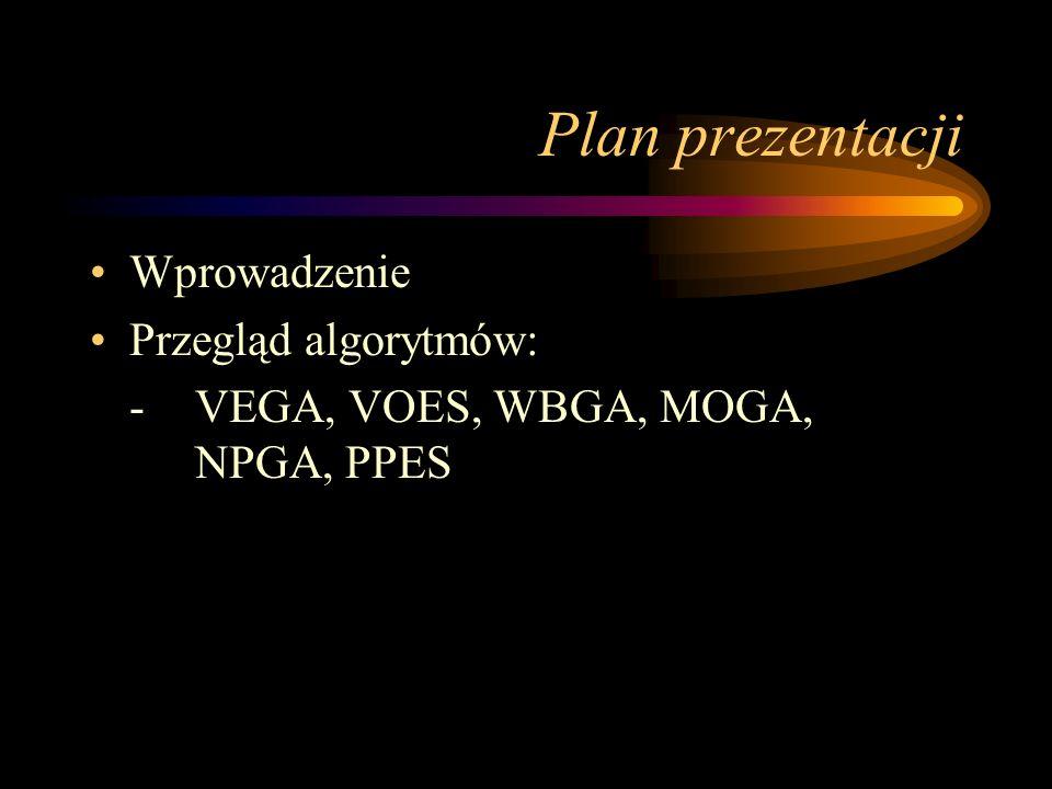 Plan prezentacji Wprowadzenie Przegląd algorytmów: -VEGA, VOES, WBGA, MOGA, NPGA, PPES