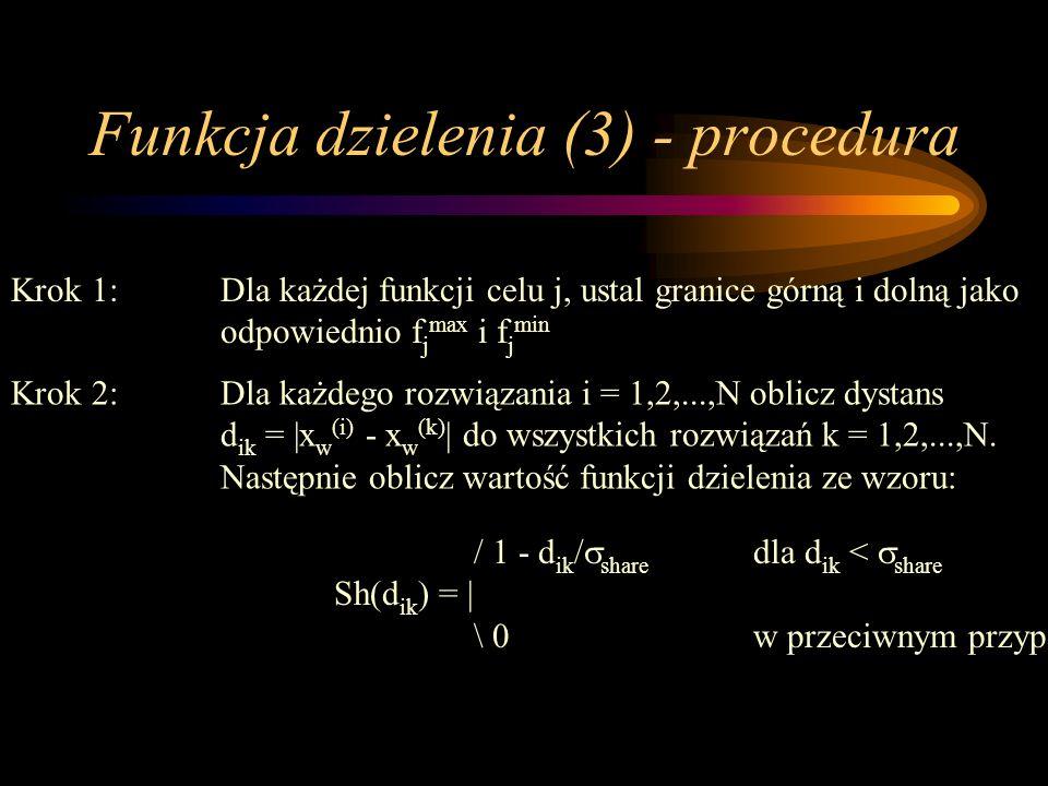 Funkcja dzielenia (3) - procedura Krok 1:Dla każdej funkcji celu j, ustal granice górną i dolną jako odpowiednio f j max i f j min Krok 2: Dla każdego
