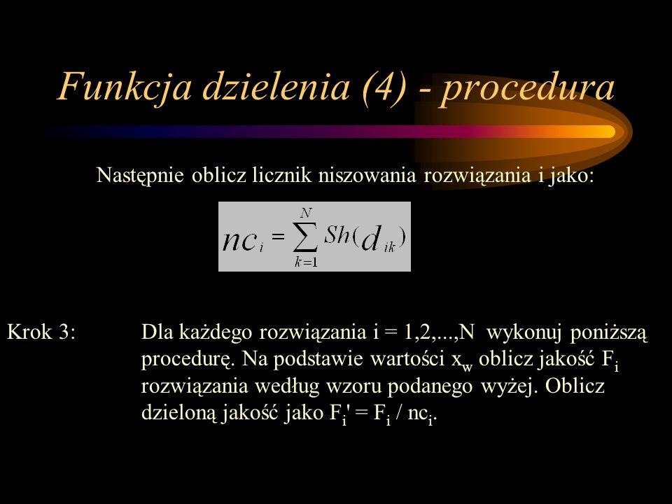 Funkcja dzielenia (4) - procedura Następnie oblicz licznik niszowania rozwiązania i jako: Krok 3:Dla każdego rozwiązania i = 1,2,...,N wykonuj poniższ