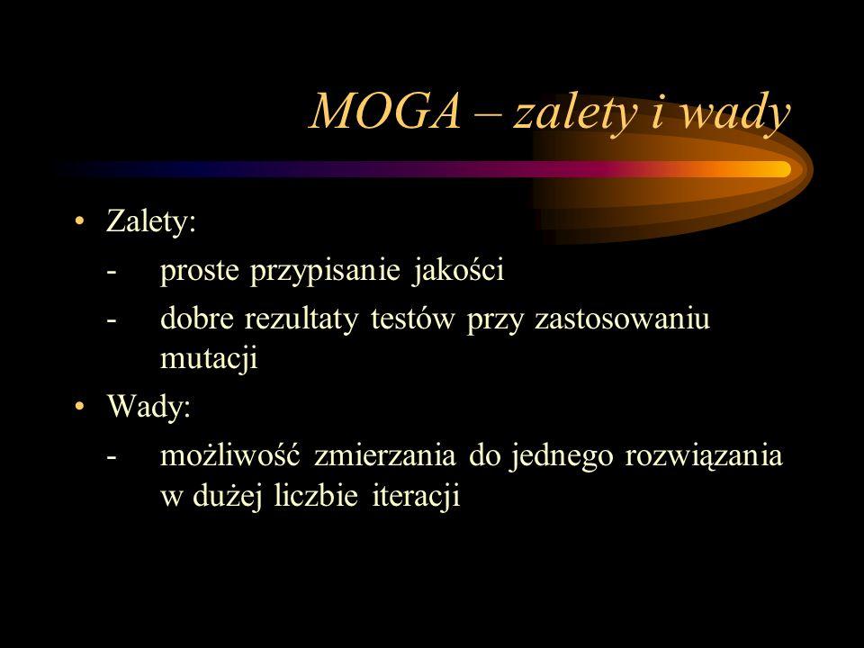 MOGA – zalety i wady Zalety: -proste przypisanie jakości -dobre rezultaty testów przy zastosowaniu mutacji Wady: - możliwość zmierzania do jednego roz