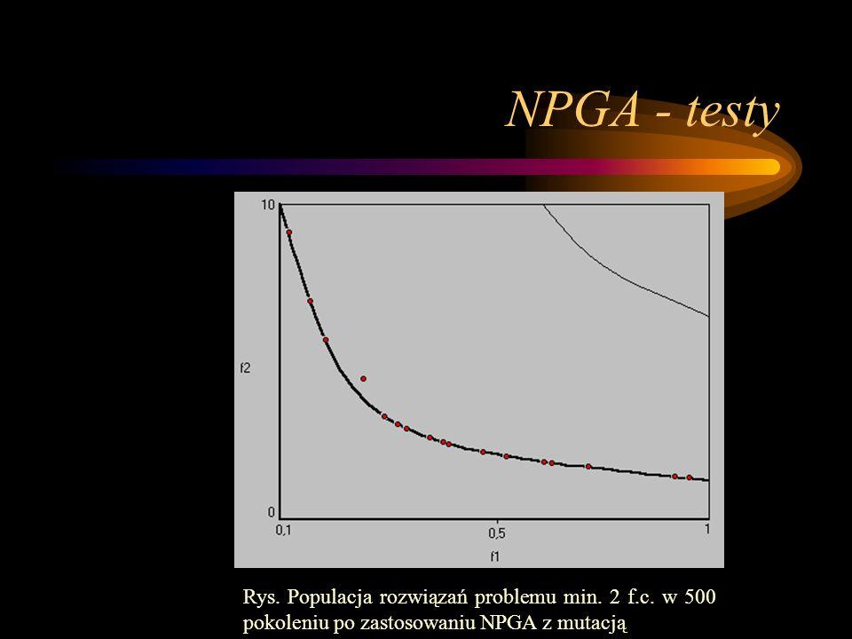 NPGA - testy Rys. Populacja rozwiązań problemu min. 2 f.c. w 500 pokoleniu po zastosowaniu NPGA z mutacją