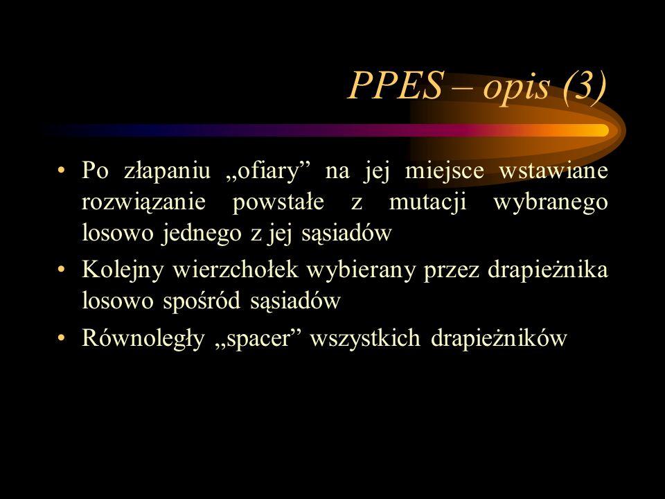 PPES – opis (3) Po złapaniu ofiary na jej miejsce wstawiane rozwiązanie powstałe z mutacji wybranego losowo jednego z jej sąsiadów Kolejny wierzchołek