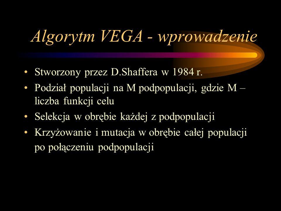 Algorytm VEGA - wprowadzenie Stworzony przez D.Shaffera w 1984 r. Podział populacji na M podpopulacji, gdzie M – liczba funkcji celu Selekcja w obrębi
